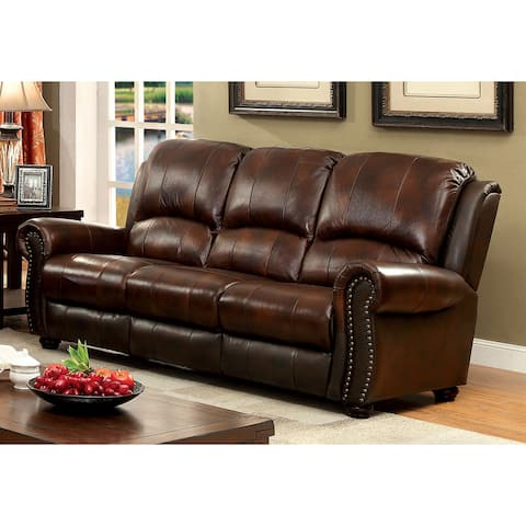 Furniture of America Drow Transitional Brown Leather Nailhead Sofa