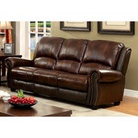 Furniture of America Curtis Transitional Leather Sofa