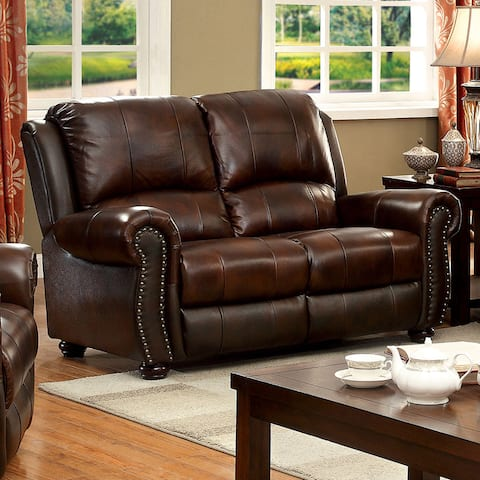 Furniture of America Drow Transitional Brown Leather Nailhead Loveseat