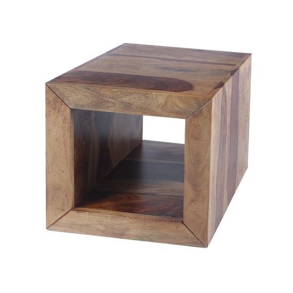 Cube Shape Rosewood Side Table With Cutout Bottom