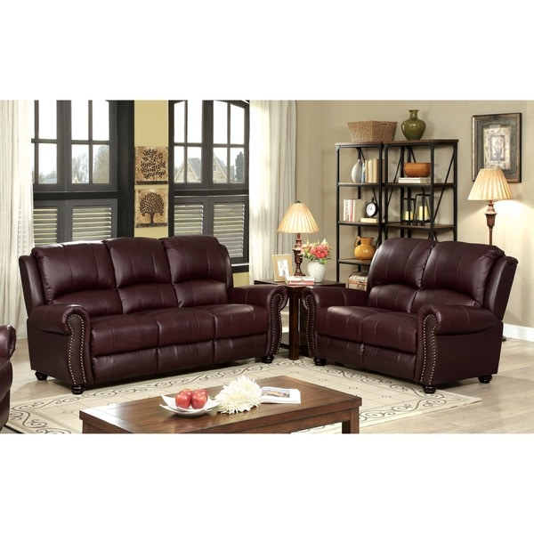 Furniture Of America Curtis Transitional 2 Piece Top Grain Leather Match Sofa Set Free