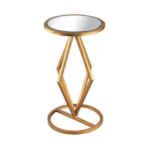 Dimond Home Vanguard Side Table in Gold Leaf and Clear Mirror