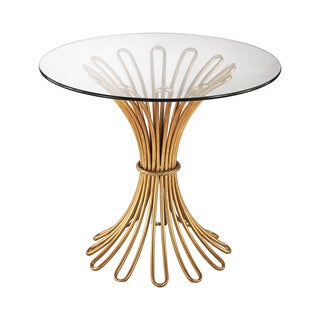 Dimond Home Faired Rope Side Table in Gold Leaf and Clear Glass