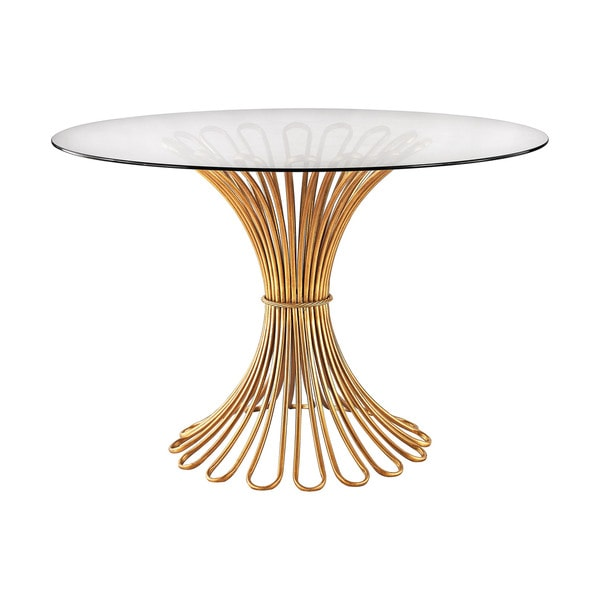 Dimond Home Faired Rope Entry Table in Gold Leaf and Clear Glass