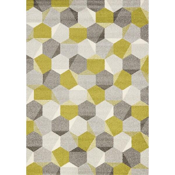 Camilla Green Grey Honeycomb Rug 2 X 3 7 Free