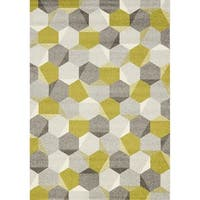 Camilla Green/ Grey Honeycomb Rug (2' x 3'7)
