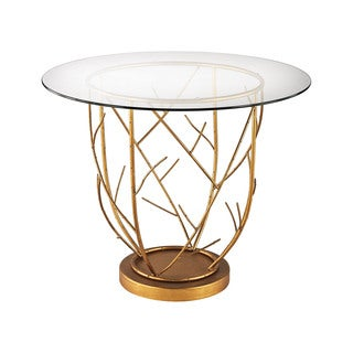 Dimond Home Thicket Entry Table in Gold Leaf and Clear Glass