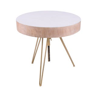 Dimond Home Biarritz Saur Wood Accent Table with Gold Metal Legs