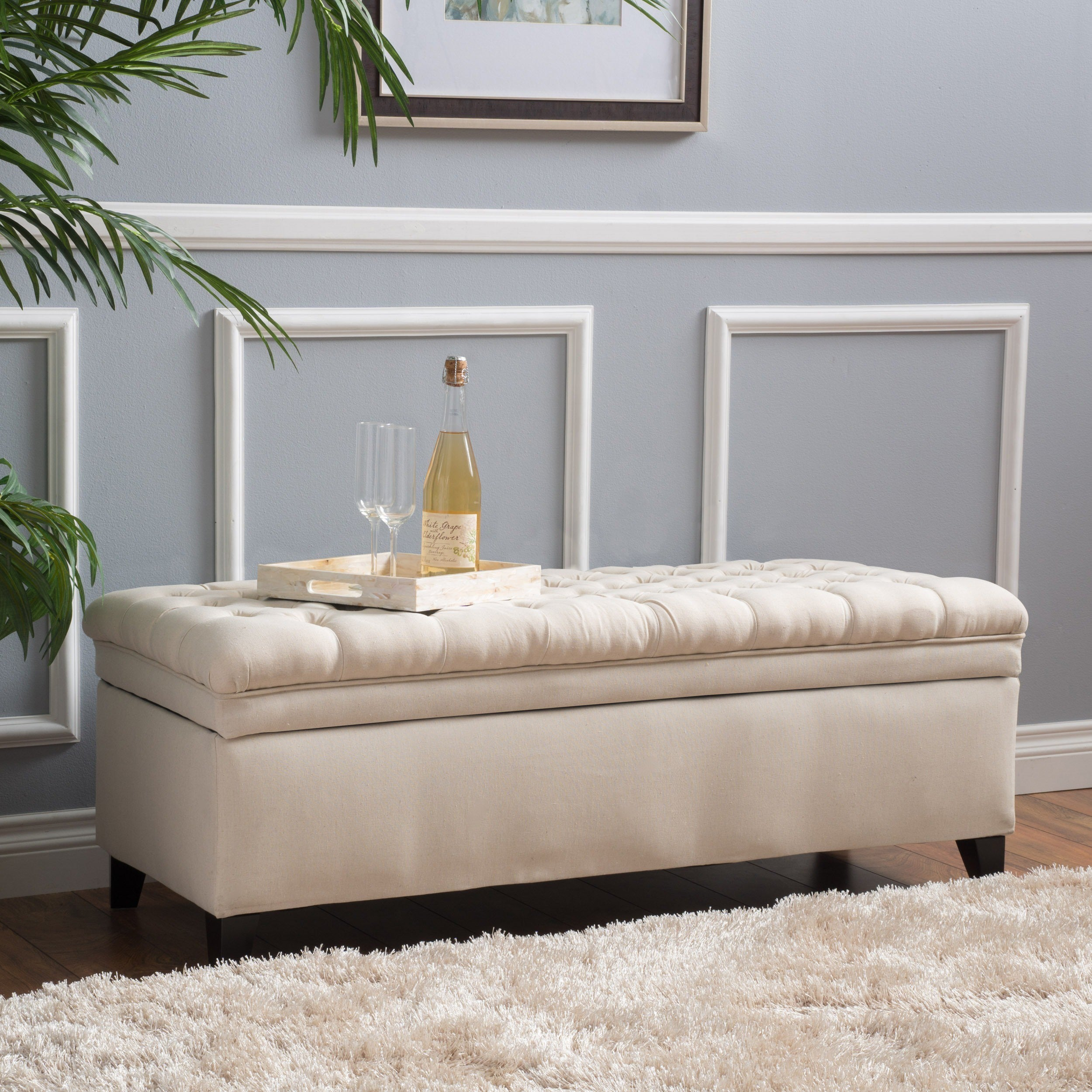 Details about Large Decorative Storage Ottoman Bench Fabric Tufted Beige  Living Room Bedroom