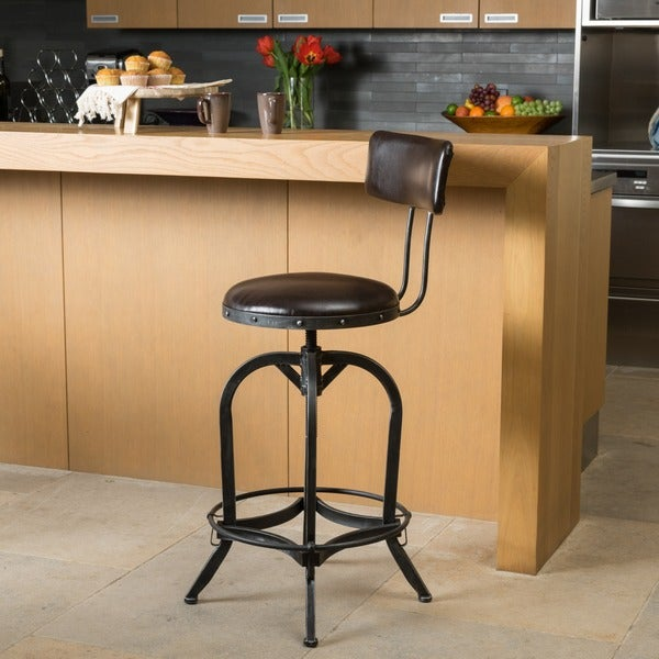 Stirling 29-inch Adjustable Bonded Leather Backed Barstool by Christopher Knight Home