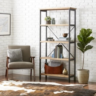 Perth 5-Shelf Industrial Bookcase by Christopher Knight Home