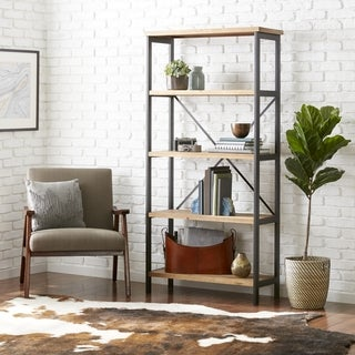 "Link to Winsten 4-shelf Firwood Display Bookcase by Christopher Knight Home - 34.25"" W x 13.50"" D x 68.70"" H Similar Items in Bookshelves"