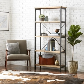 """Winsten 4 Shelf Firwood Display Bookcase by Christopher Knight Home - 34.25"""" W x 13.50"""" D x 68.70"""" H"""