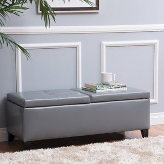 Alfred Faux Leather Small Storage Ottoman Bench by Christopher Knight Home