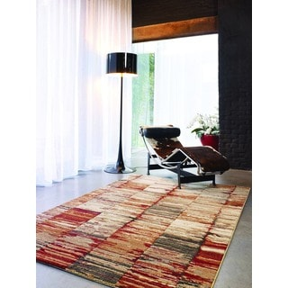 Forte Red/ Tan Abstract Stripes Rug (5'3 x 7'7)