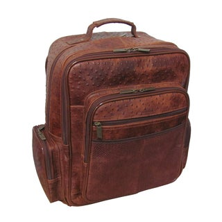 Amerileather CEO Ostrich-Print Leather Backpack