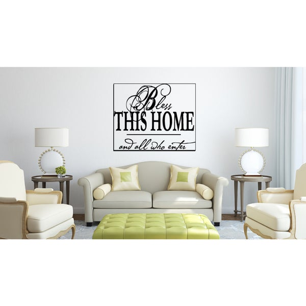 Shop Bless This Home Wall Art Sticker Decal - Free Shipping On ...