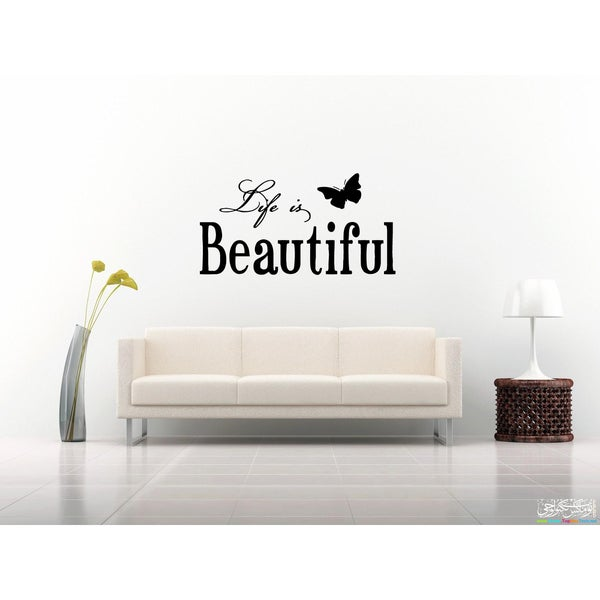 Shop Inscription Life Is Beautiful Butterfly Wall Art Sticker Decal ...