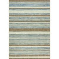 Terrain Grey/ Brown/ Beige Stripes Flatweave Rug (7'10 x 10'10)