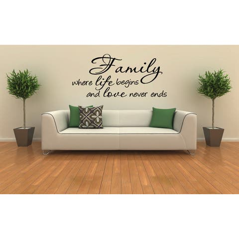 Family Life and Love statement Wall Art Sticker Decal