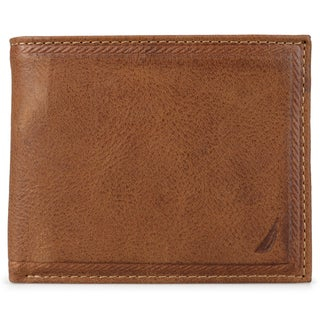 Nautica Men's Genuine Leather Bifold Passcase Wallet