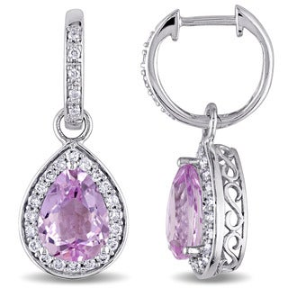 Miadora Signature Collection 14k White Gold Pear-cut Kunzite and 1/2ct TDW Diamond Halo Dangle Earrings (G-H, I1-I2)