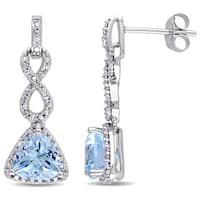Miadora 10k White Gold Trilliant-cut Sky Blue Topaz and 1/6ct TDW Diamond Infinity Earrings (G-H, I2-I3)