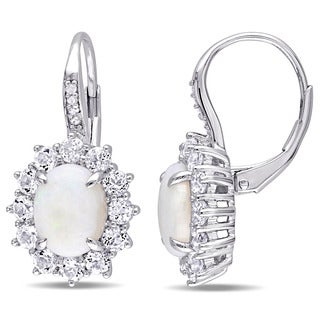 Miadora Sterling Silver Oval-cut Opal and White Topaz Diamond Accent Flower Earrings