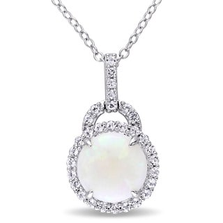 Miadora Sterling Silver Opal and White Topaz Halo Necklace