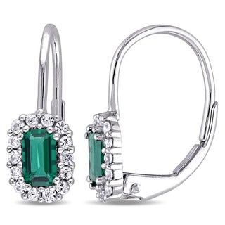 Miadora 10k White Gold Created Emerald and White Sapphire Halo Leverback Earrings