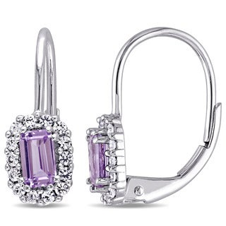 Miadora 10k White Gold Created Alexandrite and White Sapphire Halo Leverback Earrings