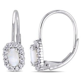 Miadora 10k White Gold Opal and White Sapphire Halo Leverback Earrings