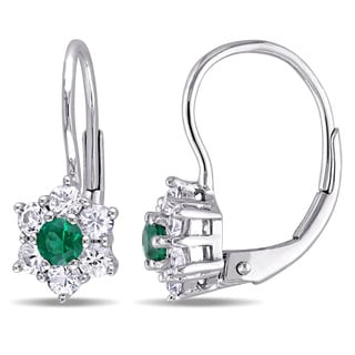 Miadora 10k White Gold Created Emerald and White Sapphire Star Leverback Earrings