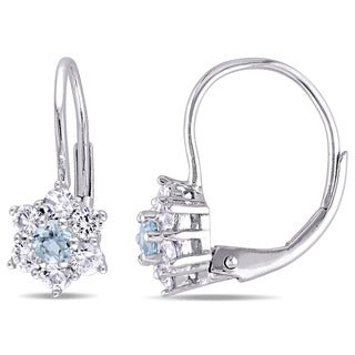 Miadora 10k White Gold Aquamarine and White Sapphire Star Leverback Earrings