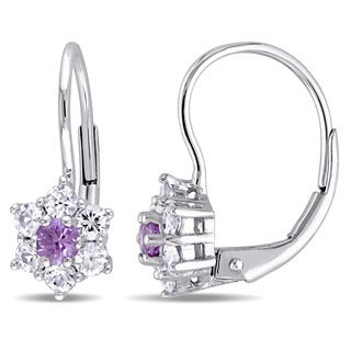 Miadora 10k White Gold Created Alexandrite and White Sapphire Star Leverback Earrings