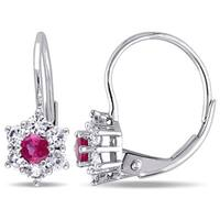 Miadora 10k White Gold Created Ruby and White Sapphire Star Leverback Earrings