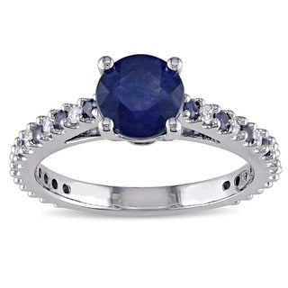 Miadora Signature Collection 14k White Gold Blue Sapphire and 1/5ct TDW Diamond Engagement Ring