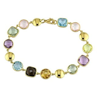 Miadora 18k Yellow Gold Multi-Color Quartz Station Bracelet