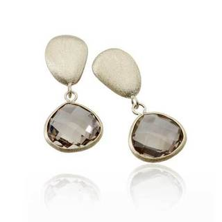 Collette Z Gold Overlay and Genuine Smoky Quartz Stone Earrings