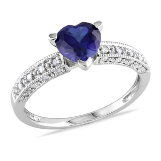 Miadora 10k White Gold Created Blue Sapphire and 1/10ct TDW Diamond Heart Ring (G-H, I2-I3)