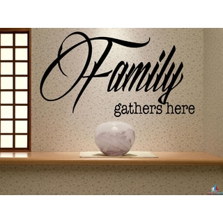 Family Gathers Here Inscription family favorite Wall Art Sticker Decal
