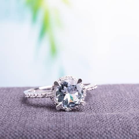 Miadora 10k White Gold Aquamarine and Diamond Accent Halo Ring - Blue