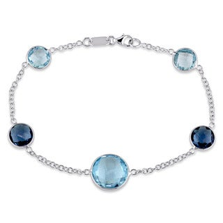 Miadora 18k White Gold Blue Topaz Station Bracelet