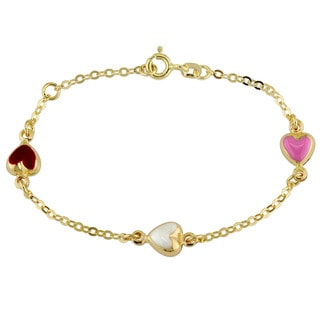 Miadora 18k Yellow Gold Enamel Hearts Baby Station Bracelet