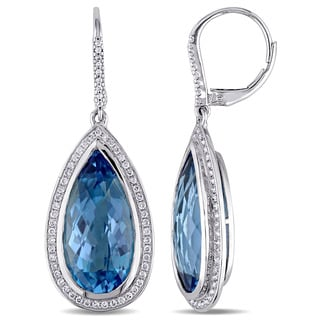 Miadora Signature Collection 14k White Gold Pear-cut Swiss Blue Topaz and 1/2ct TDW Diamond Halo Dangle Earrings (G-H, SI1-SI2)