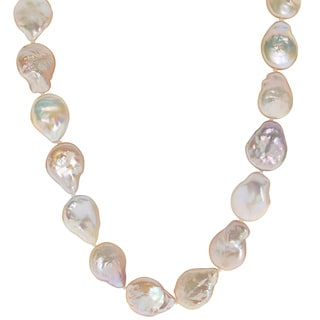 Pearls For You 14k Yellow Gold Pink Baroque Coin Pearl 19-inch Necklace (14-15mm)