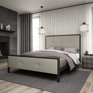 Amisco Dayton Metal Bed with Upholstered Headboard and Footboard