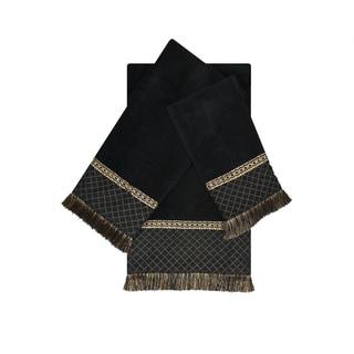 Austin Horn Classics Arcadia Black 3-piece Decorative Embellished Towel Set