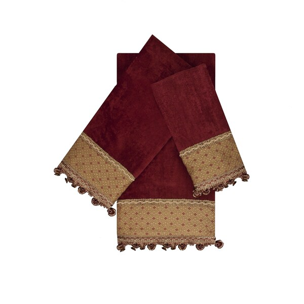 Austin Horn Classics Promenade Red 3-piece Decorative Embellished Towel Set