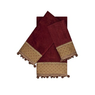 Austin Horn Classics Promenade Red 3-piece Decorative Embellished Towel Set